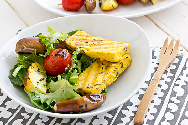 ... are topped with herb-marinated grilled veggies and homemade